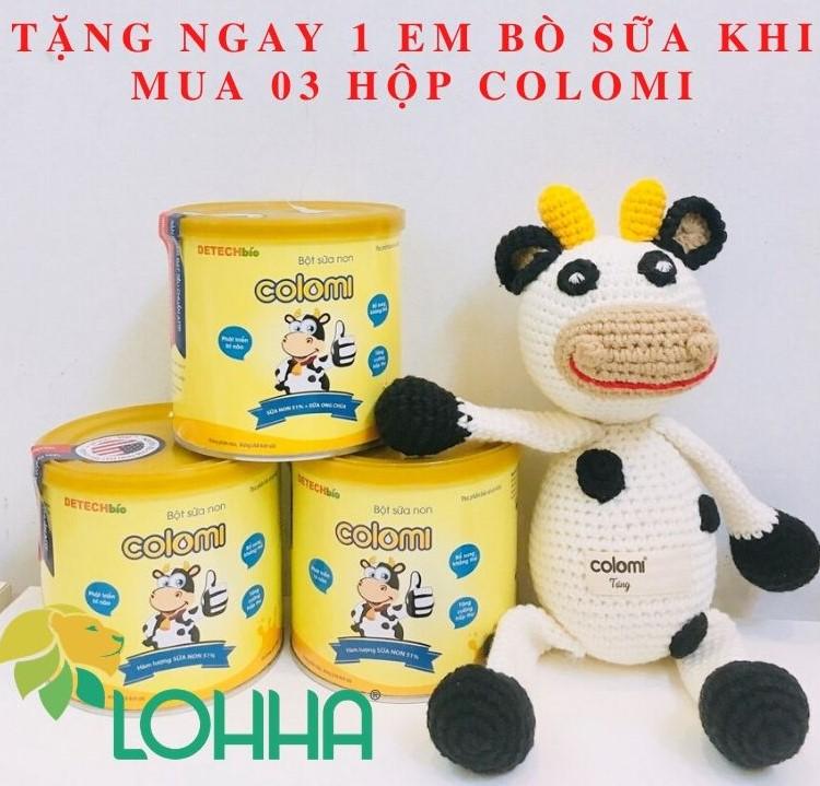 Tặng ngay 01 em bò sữa len được móc bằng tay khi mua 03 hộp Colomi 200g - giá chỉ còn 470.000đ/hộp